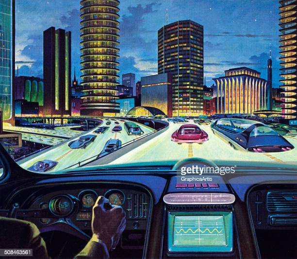 Vintage illustration of an 'electronic car of tomorrow' driving on a city highway with electronic display and guidance 1950s Screen print