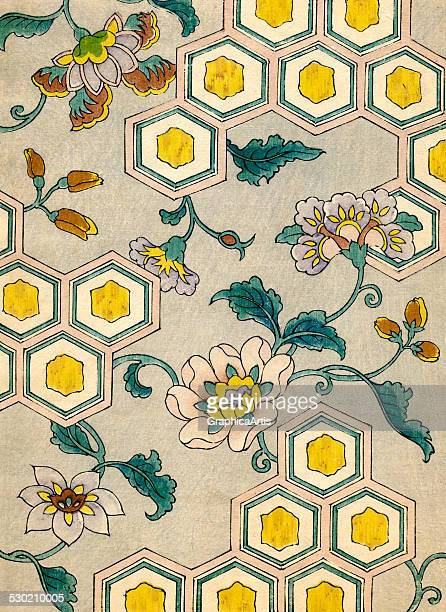 Vintage illustration of blossoms on a honeycomb background from a Japanese pattern book for kimono design 1882
