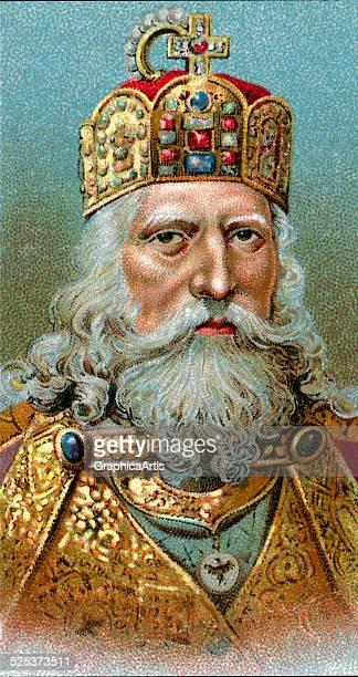 Vintage illustration of Charlemagne chromolithograph 1923