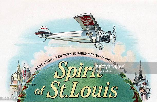 Vintage illustration of Charles Lindbergh flying the Spirit of St Louis from New York to Paris; chromolithograph, 1930.