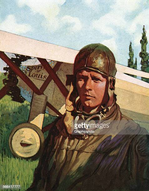 Vintage illustration of Charles Lindbergh in flight gear standing before the Spirit of St Louis screen print 1932