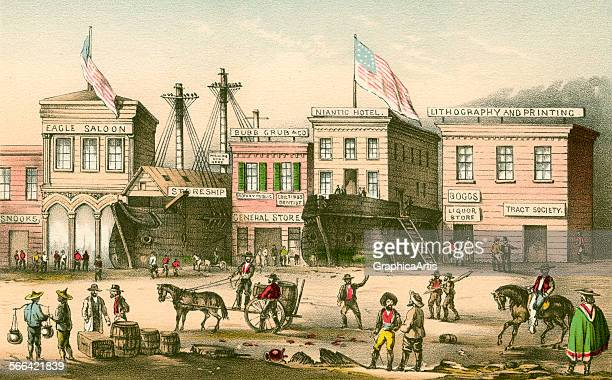 Vintage illustration of Chinese immigrants and gold miners in San Francisco in 1849 with a saloon hotel and general store lithograph 1926
