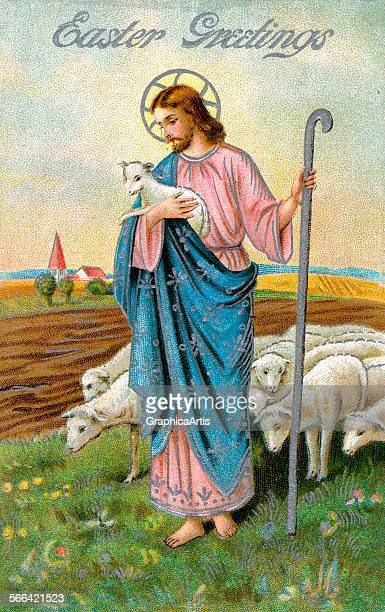 Vintage illustration of Christ as the Good Shepherd holding a lamb chromolithograph 1912