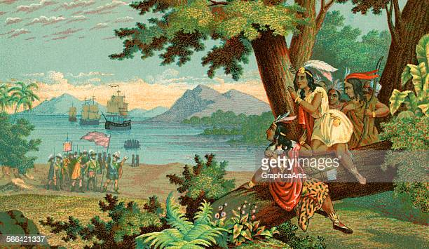 Vintage illustration of Christopher Columbus arriving in the New World chromolithograph 1900