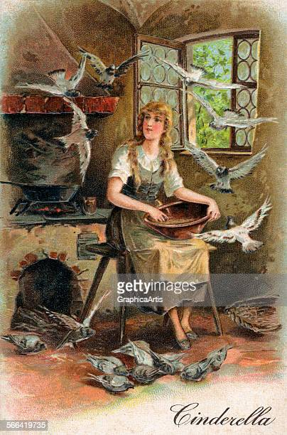 Vintage illustration of Cinderella feeding the birds among the cinders chromolithograph 1909