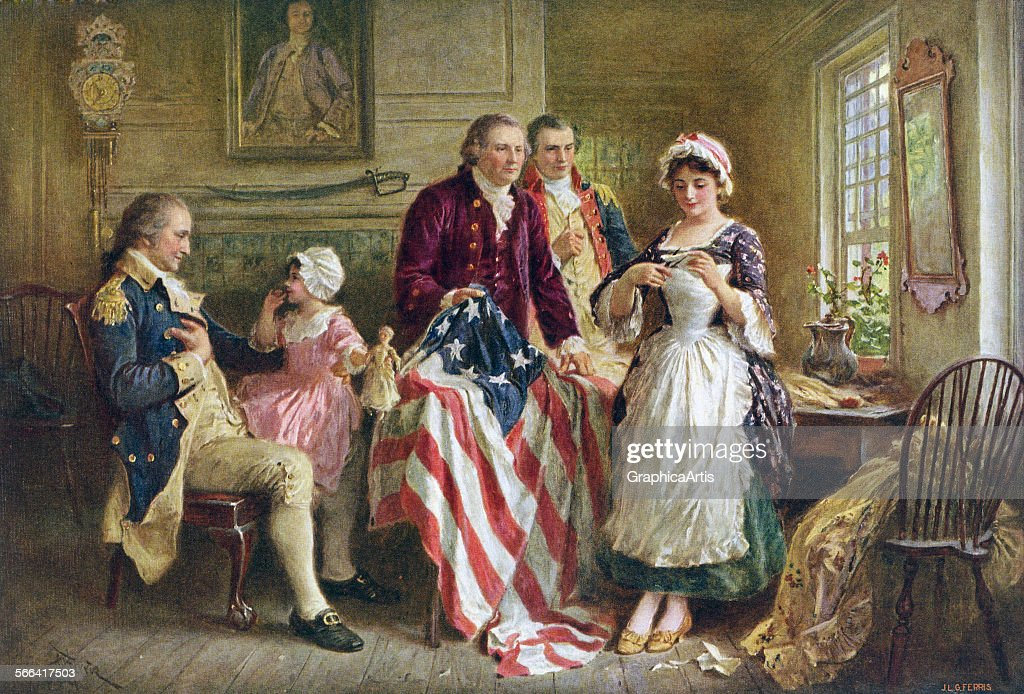 Betsy Ross Sewing U.S. Flag : News Photo