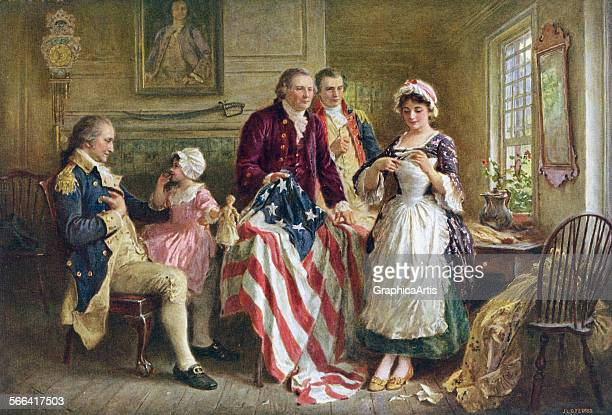 Vintage illustration of George Washington watching Betsy Ross sew the American flag in 1777 screen print 1920
