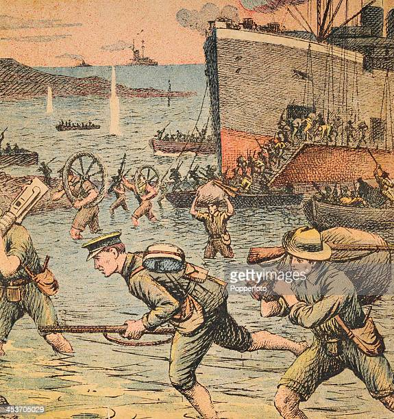 "Vintage illustration of Irish and Australian soldiers landing at Gallipoli off the troop ship, the ""River Clyde"" to begin the Dardanelles Campaign..."