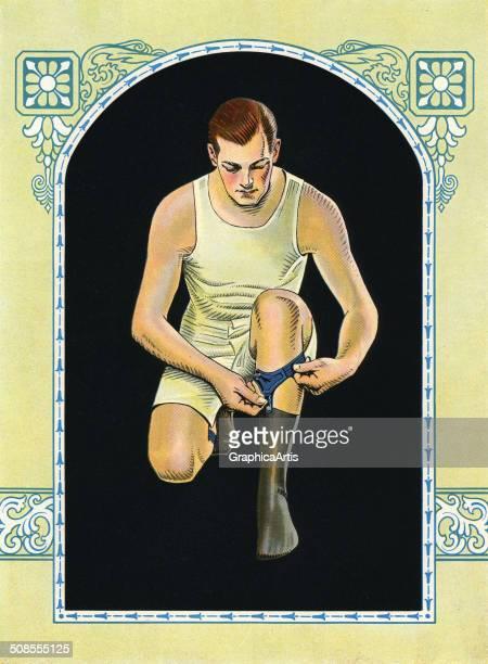 Vintage illustration of man adjusting his sock garters c 1925