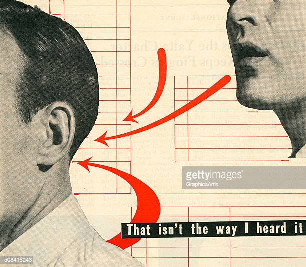 Vintage illustration of man listening to another man speak 'That isn't the way I heard it…' 1945 Screen print