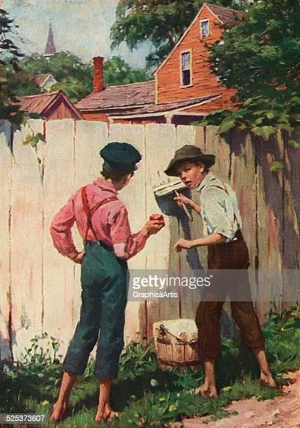 Vintage illustration of Mark Twain character Tom Sawyer whitewashing a fence screen print 1910
