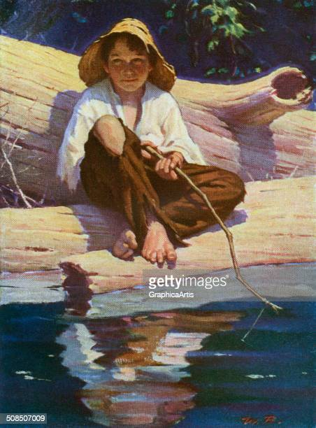 Vintage illustration of Mark Twain's Huckleberry Finn fishing with a switch on a lake c 1925 Screen print