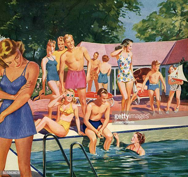 Vintage illustration of men and women in swimsuits at a pool party screen print 1946