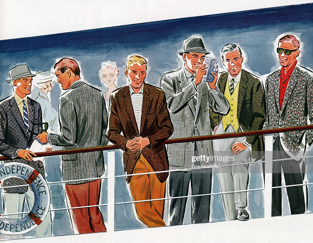 Men At Railing Of Cruise Ship : News Photo