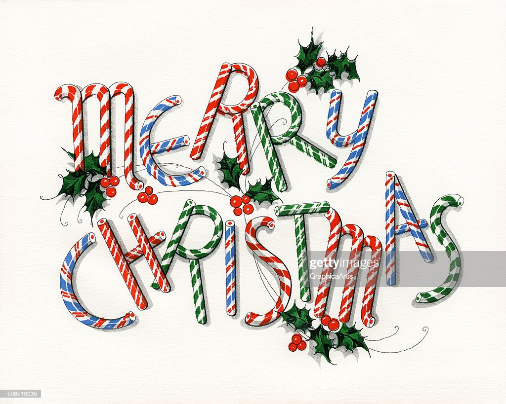 Vintage illustration of \'Merry Christmas\' made out of candy canes ...