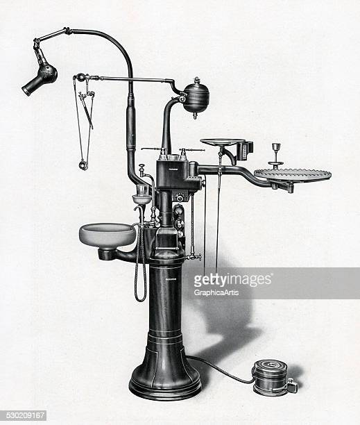 Vintage illustration of oldfashioned dentist equipment with drill xray spitting bowl and other tools 1923