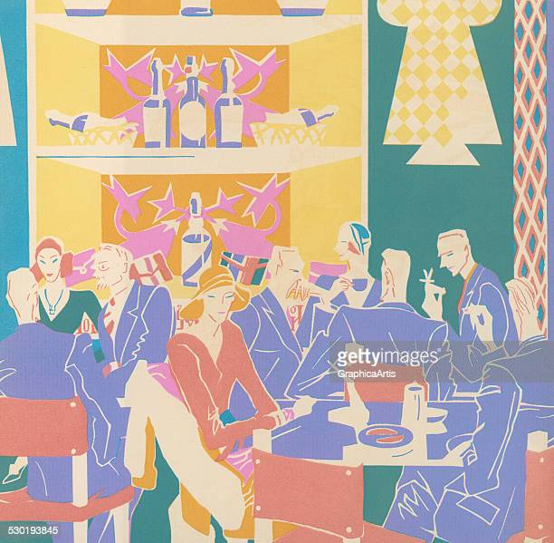 Vintage illustration of patrons sitting at tables in an Art Deco style jazz club in between sets 1931