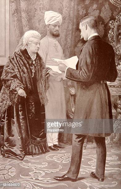 A vintage illustration of Queen Victoria on the arm of her Indian servant Abdul Karim Munshi or teacher listening to a despatch from her troops...