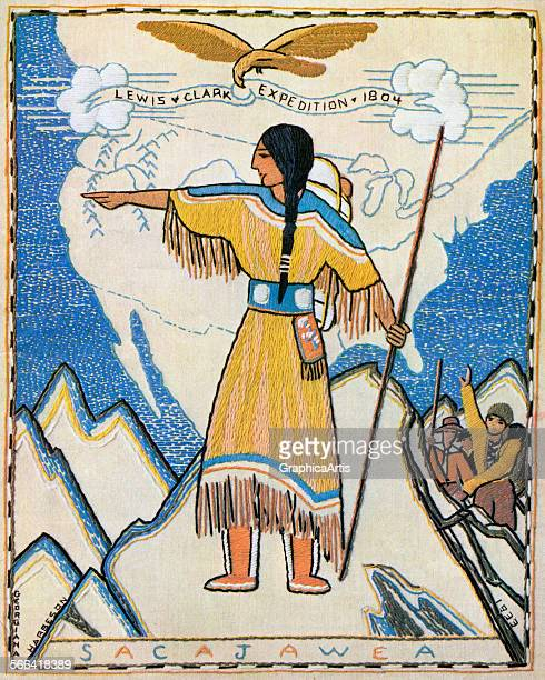 Vintage illustration of Sacajawea on the Lewis and Clark Trail from the 1804 expedition screen print 1933 After a needlepoint design