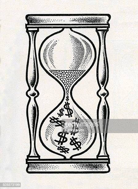 Vintage illustration of sand running through an hourglass with dollar signs engraving circa 1920