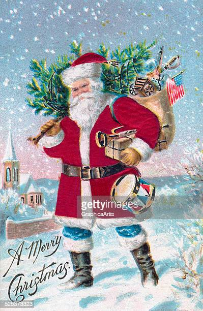 Vintage illustration of Santa Claus with his sack of toys walking through a snowy town chromolithograph with velvet overlay circa 1915
