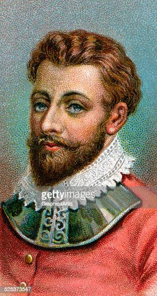 Vintage illustration of Sir Francis Drake chromolithograph 1923