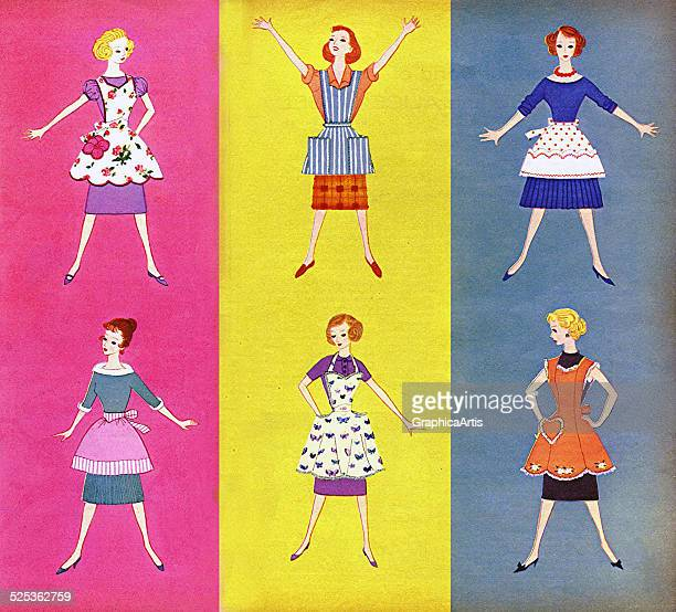 Vintage illustration of six retro 1950s American housewives in aprons screen print 1959