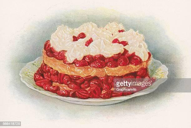Vintage illustration of strawberry shortcake screen print 1930