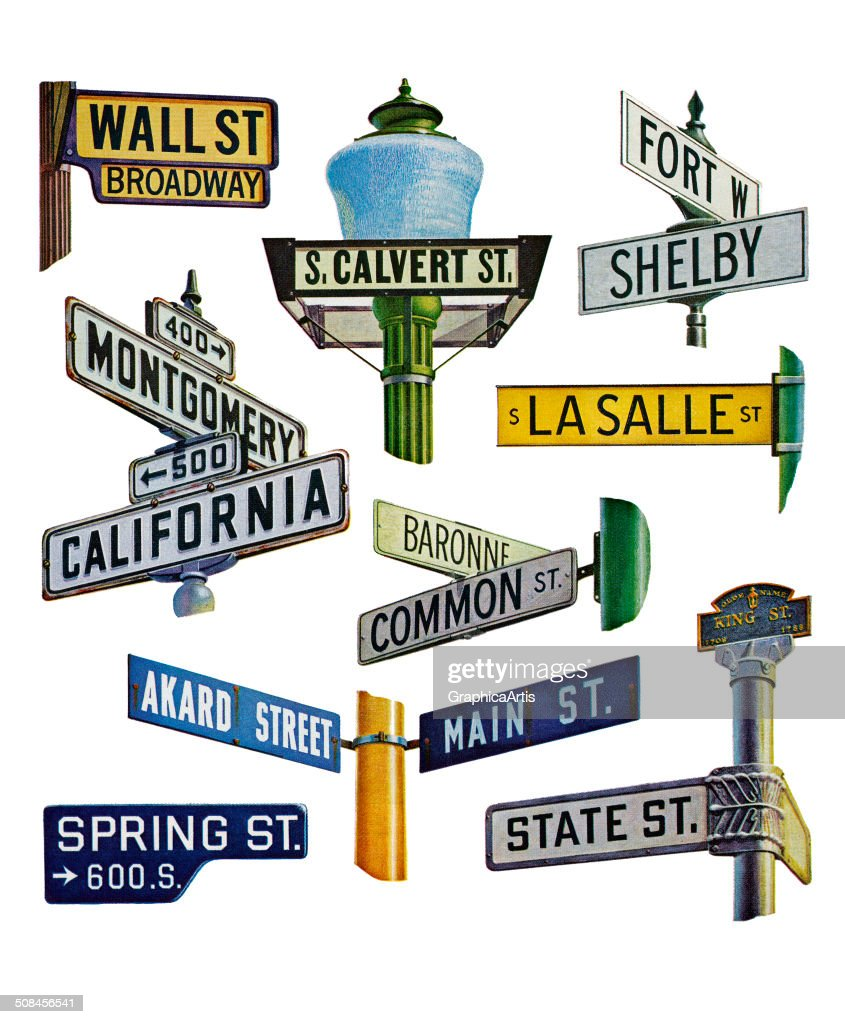 Vintage illustration of street signs, all from famous cities in the American banking and commerce industries, 1960. Screen print.