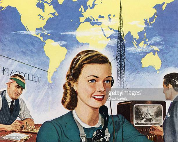Vintage illustration of telephone telegraph and television operators in front of a world map representing global communications 1945