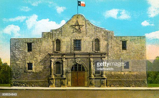 Vintage illustration of the Alamo in San Antonio Texas c 1920 Screen print