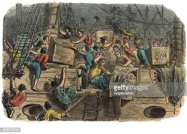 Vintage illustration of the Boston Tea Party December 16 with Boston citizens dressed as Native Americans dumping British tea into the harbor...