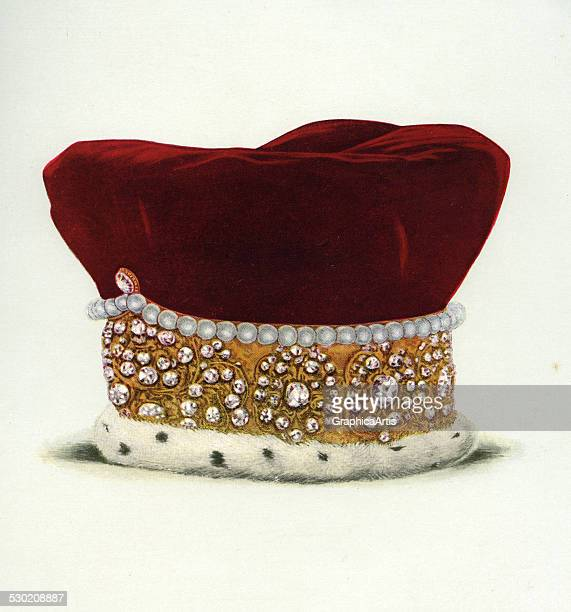 Vintage illustration of the Diadem of Queen Mary of Modena Consort of James II part of the Crown Jewels of England 1919