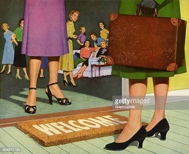 Vintage illustration of the feet of a woman standing at a welcome mat with a party in progress inside the house screen print 1953