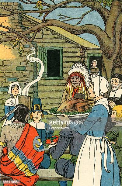 Vintage illustration of the first Thanksgiving with pilgrims and Native Americans sitting down for a feast of roast turkey screen print 1926