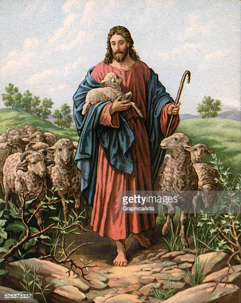 Vintage illustration of The Good Shepherd with Jesus holding a lamb lithograph 1930s