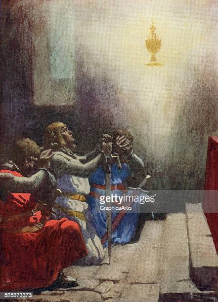 Vintage illustration of the Holy Grail appearing to Percival Knight of the Round Table screen print 1918