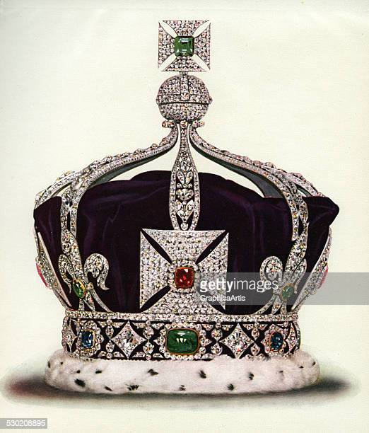 Vintage illustration of the Imperial Crown of India part of the Crown Jewels of England 1919