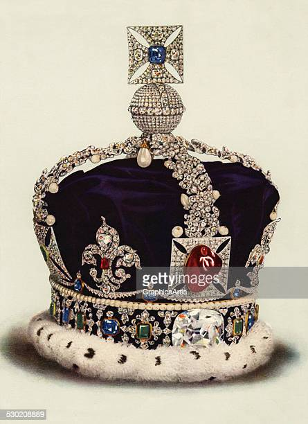 Vintage illustration of the Imperial State Crown part of the Crown Jewels of England 1919
