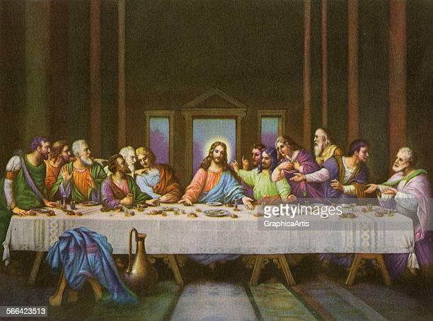 Vintage illustration of the Last Supper after Leonardo da Vinci screen print 1915