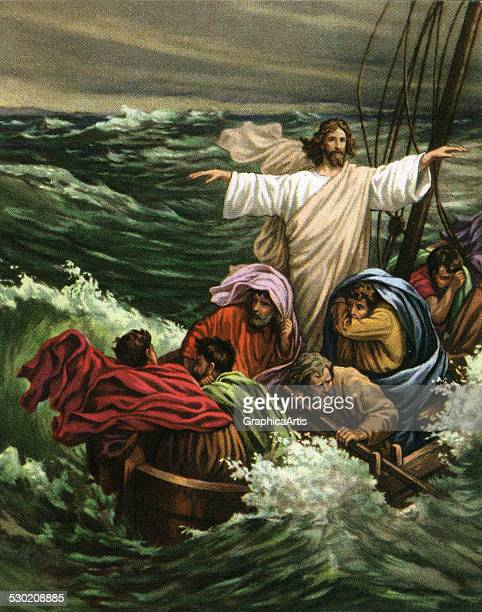 Vintage illustration of the miracle of Christ calming the storm on the Sea of Galilee , 1930s.