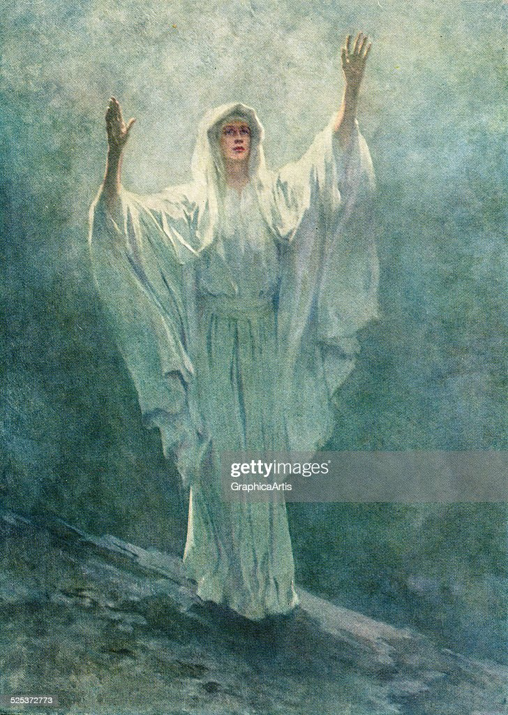 Vintage illustration of the Prophet Isaiah beseeching the heavens with arms raised; screen print, 1916.