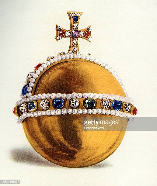 Vintage illustration of the Queen's Orb part of the Crown Jewels of England 1919