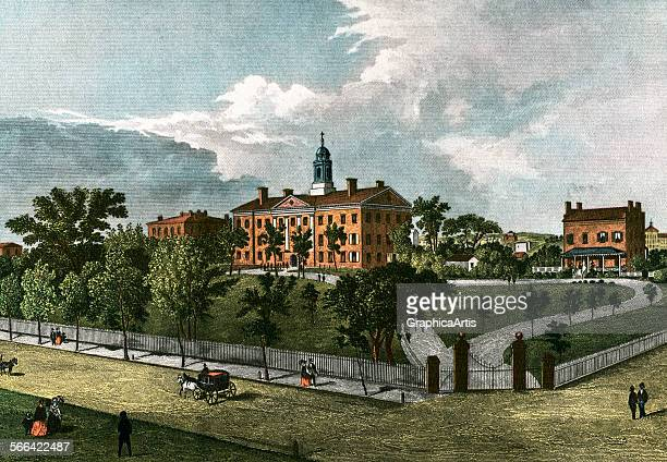 Vintage illustration of the Rutgers University campus in 1844, from a series of prints of American historical colleges; lithograph, 1920.