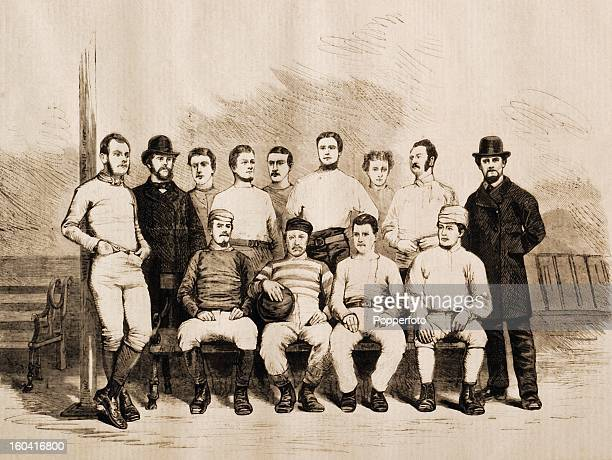 Vintage illustration of the Sheffield Football Club, the oldest of all existing clubs, pictured in the year in which they first took part in the FA...