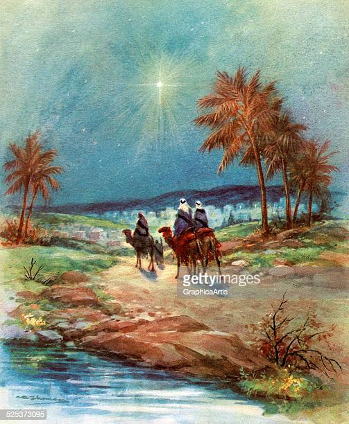 Vintage illustration of the Three Magi following the North Star towards Bethlehem screen print 1940s1950s