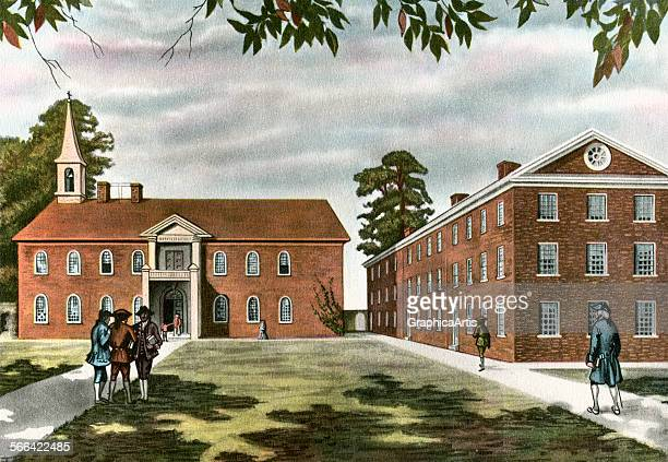 Vintage illustration of the University of Pennsylvania in 1765 from a series of prints of American historical colleges lithograph 1920
