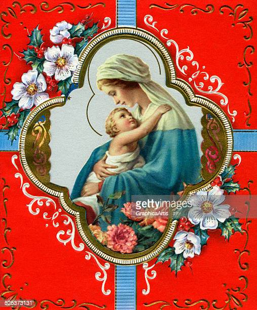 Vintage illustration of the Virgin and Child screen print 1940s1950s