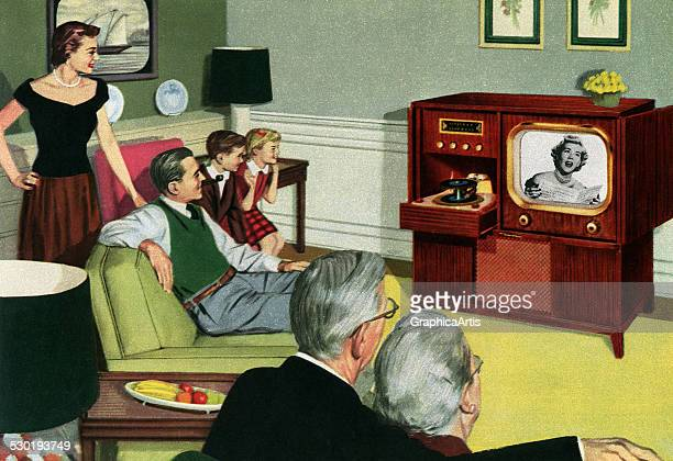 Vintage illustration of three generations of a 1950s American family sitting in their living room watching television 1950