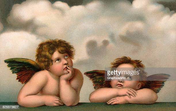 Vintage illustration of two cherubic winged angels after Raphael's Sistine Madonna; chromolithograph, circa 1910.